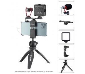 Ulanzi Smartphone Video Kit Telefon Fotografie Live VLog Set Enthält Stativ Telefon Clip Led-leuchten Mikrofon Handheld Stabilisator