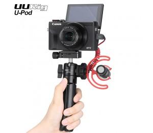 UURig U-Pod Tragbarer Vlog-Ständer Tischhalter Haltegriff Stativ für spiegellose Sony / Canon-Kamera mit kaltem Schuh für Mikrofon