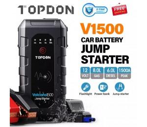 TOPDON 1500A Spitzen Auto Starthilfe 12V Notfall Batterie Power Bank 18000mAh Auto Batterie Booster Ladegerät für 8L gas 6L Diesel