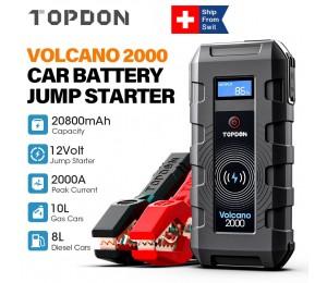TOPDON Auto Starthilfe 20800mAh 2000A Spitzen 12V Tragbare Notfall Starter Power Bank Auto Booster Start Gerät Waterpoof