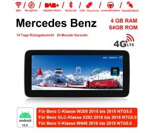 10.25 Zoll MTK8783 8 Core Android 10.0 4G LTE Autoradio / Multimedia 4GB RAM 64GB ROM Für Mercedes Benz C-Klasse GLC-Klasse V-Klasse Mit WiFi NAVI Bluetooth USB