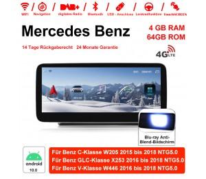 12,5 Zoll Snapdragon 625 MSM8953 8 Core Android 10.0 4G LTE Autoradio / Multimedia 4GB RAM 64GB ROM Für Mercedes Benz C GLC V Class 2015 - 2018 Mit WiFi NAVI Bluetooth USB,Built-in Carplay