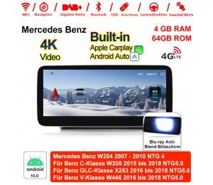 12,5 Zoll Qualcomm Snapdragon 625 8 Core Android 10.0 4G LTE Autoradio / Multimedia 4GB RAM 64GB ROM Für Mercedes Benz C GLC V Class 2015 - 2018 Mit WiFi NAVI Bluetooth USB,Built-in Carplay