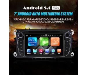2 din Android 8.0 Octa-core 4GB RAM 32GB ROM Autoradio Für Ford Focus II Mondeo S-Max Farbe Schwarz