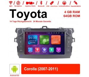 8'' Android 9.0 Octa-core 4GB RAM 64GB Flash Autoradio / Multimedia Für Toyota corolla 2007-2011 Mit WiFi NAVI Bluetooth USB