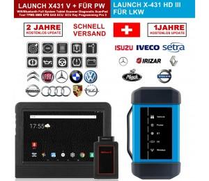 "Launch X431 V + & X431 HD3 heavy duty 10,1 ""Screen Tablet Bluetooth/wifi auto diagnose scanner test von LKWs & PKWs Komplett!"