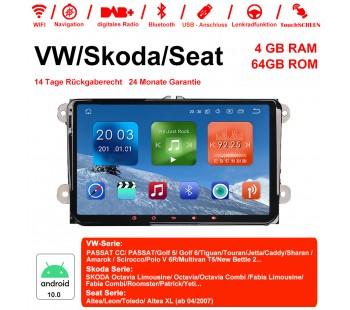 9 Zoll Android 10.0 Autoradio / Multimedia 4GB RAM 64GB ROM Für VW Magotan,Passat,Jetta,Golf,Tiguan,Touran,Seat,Skoda MIT dem verbauten DSP ( Digital Sound Prozessor ) und Bluetooth 5.0