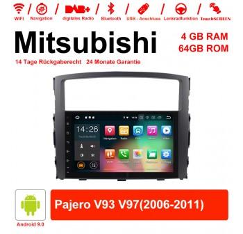 9 Zoll Android 9.0 Autoradio / Multimedia 4GB RAM 64GB ROM Für Mitsubishi Pajero V93 V97(2006-2011) Mit WiFi NAVI Bluetooth USB