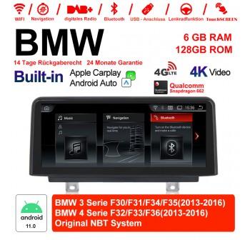10.25 Zoll Qualcomm Snapdragon 662 8 Core Android 11.0 4G LTE Autoradio / Multimedia 6GB RAM 128GB ROM USB WiFi Carplay Für BMW 3 Series /4 Series NBT