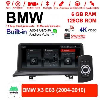 10.25 Zoll Qualcomm Snapdragon 662 8 Core Android 11.0 4G LTE Autoradio / Multimedia USB WiFi Navi Carplay Für BMW X3 E83 (2004-2010)