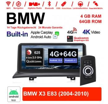 10.25 Zoll Qualcomm Snapdragon 625 (MSM8953) 8 Core A53 2.0 GHZ Android 10.0 Autoradio/Multimedia WiFi NAVI Bluetooth USB Carplay Für BMW X3 E83