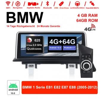 10.25 Zoll Qualcomm Snapdragon 625 (MSM8953) 8 Core A53 2.0 GHZ Android 10.0 4G LTE Autoradio / Multimedia 4GB RAM 64GB ROM Für BMW 1 Serie E81 E82 E87 E88 Mit WiFi NAVI Bluetooth USB