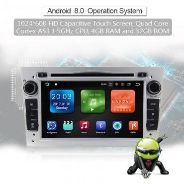 2 din Android 8.0 Octa-core 4 GB RAM 32GB Car DVD Für Opel Astra Vectra Antara Zafira Corsa GPS Navigation Radio Farbe Silber