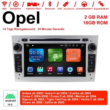 2din Android 10.0 Octa-core 2GB RAM 16GB ROM Autoradio Für Opel Astra Vectra Antara Zafira Corsa GPS Navigation Radio Farbe Silber