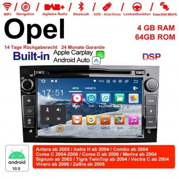 7 Zoll Android 10.0 Autoradio / Multimedia 4GB RAM 64GB ROM Für Opel Astra Vectra Antara Zafira Corsa MIT dem verbauten DSP ( Digital Sound Prozessor )  und Bluetooth 5.0 Schwarz Built-in Carplay / Android Auto