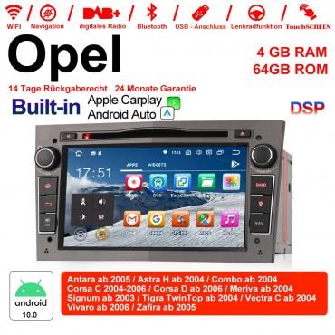 7 Zoll Android 10.0 Autoradio / Multimedia 4GB RAM 64GB ROM Für Opel Astra Vectra Antara Zafira Corsa MIT dem verbauten DSP ( Digital Sound Prozessor )  und Bluetooth 5.0 Grau Built-in Carplay / Android Auto