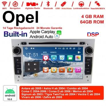 7 Zoll Android 10.0 Autoradio / Multimedia 4GB RAM 64GB ROM Für Opel Astra Vectra Antara Zafira Corsa MIT dem verbauten DSP ( Digital Sound Prozessor )  und Bluetooth 5.0 Silber Built-in Carplay / Android Auto