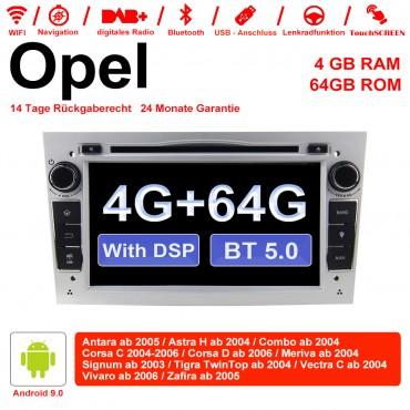 7 Zoll Android 9.0 Autoradio / Multimedia 4GB RAM 64GB ROM Für Opel Astra Vectra Antara Zafira Corsa Mit WiFi NAVI DSP Bluetooth 5.0 Silber