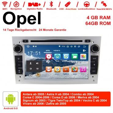 7 Zoll Android 9.0 Autoradio / Multimedia 4GB RAM 64GB ROM Für Opel Astra Vectra Antara Zafira Corsa MIT dem verbauten DSP ( Digital Sound Prozessor ) und Bluetooth 5.0 Silber