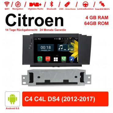 7 Zoll Android 9.0 Autoradio / Multimedia 4GB RAM 64GB ROM Für Citroen C4 C4L DS4 2012-2017 Mit WiFi NAVI Bluetooth USB