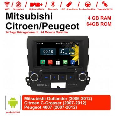 8 Zoll Android 9.0 Autoradio / Multimedia 4GB RAM 64GB ROM Für Mitsubishi Outlander / Citroen C-Crosser / Peugeot 4007 Mit WiFi NAVI Bluetooth USB