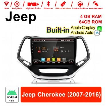 10 Zoll Android 10.0 Autoradio / Multimedia 4GB RAM 64GB ROM Für Jeep Cherokee 2007 - 2016 Mit DSP Built-in Carplay Android Auto