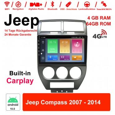 9 Zoll Android 10.0 Autoradio / Multimedia 4GB RAM 64GB ROM Für Jeep Compass 2007 - 2014  Mit WiFi NAVI Bluetooth USB