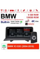 10.25 Zoll Qualcomm Snapdragon 662 8 Core Android 11.0 4G LTE Autoradio /Multimedia USB WiFi Carplay Für BMW X3 E83 (2004-2010) mit Original display