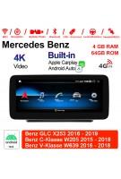 10.25 Zoll Qualcomm Snapdragon 625 (MSM8953) 8 Core Android 10.0 4G LTE Autoradio / Multimedia 4GB RAM 64GB ROM Für Mercedes Benz GLC X253 C-Klasse W205 V-Klasse W446 W447 W639 NTG5.0 Mit WiFi NAVI Bluetooth USB Built-in CarPlay