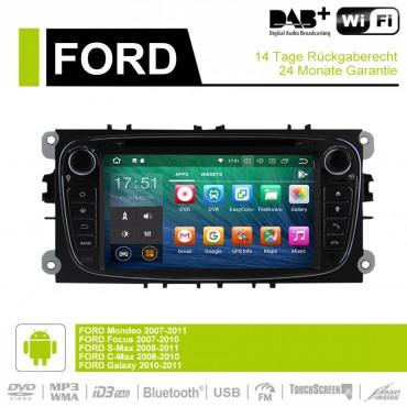 7 Zoll Android 9.0  Autoradio / Multimedia 4GB RAM 32GB ROM  Für Ford Focus II Mondeo S-Max Farbe Schwarz