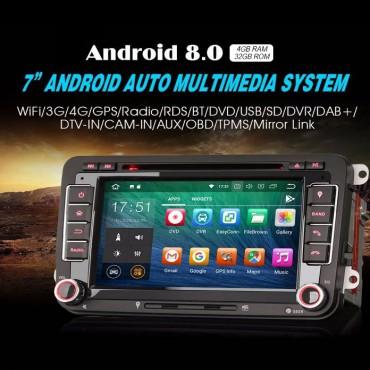 2 Din Android 8.0 Octa-Core 4GB RAM 32GB Autoradio / Multimedia Für VW GOLF JETTA POLO TOURAM PASSAT B6 mit GPS stereo radio usb WIFI