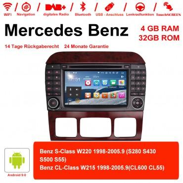7 Zoll Android 9.0 Autoradio / Multimedia 4GB RAM 64GB ROM Für Benz W220 W215