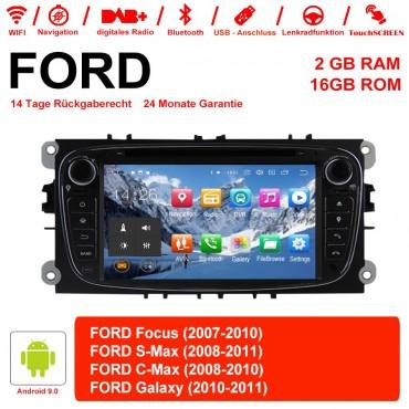 2 Din Android 9.0 Quad-core 2GB RAM 16GB  flash AutoRadio für Ford Focus(2009-2010) Schwarz