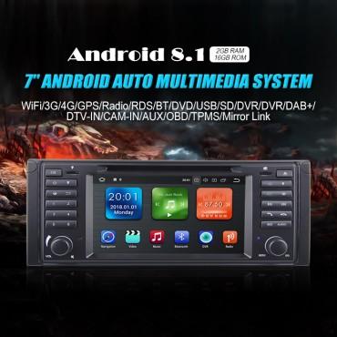 NEU 7'' Android8.1.0 2GB+16GB 1024*600 HD Capacitive Touch Screen Autoradio Für BMW E39 mit GPS Bluetooth WiFi DVD