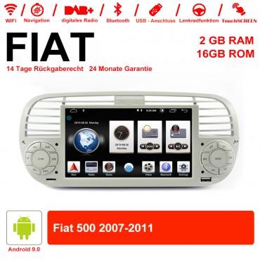 6.2 Zoll Android 9.0 Autoradio / Multimedia 2GB RAM 16GB ROM Für Fiat 500 2007-2011 Mit WiFi NAVI Bluetooth USB
