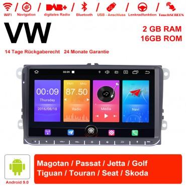 9 Zoll Android 9.0 Autoradio / Multimedia 2GB RAM 16GB ROM Für VW Magotan,Passat,Jetta,Golf,Tiguan,Touran,Seat,Skoda Mit WiFi NAVI Bluetooth USB