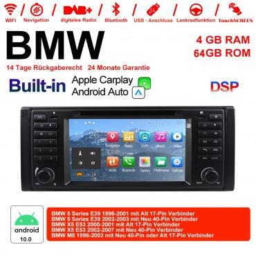 7 Zoll Android 10.0 Autoradio/Multimedia 4GB RAM 64GB ROM Für BMW 5series E39 X5 E53 M5 Built-in Carplay / Android Auto