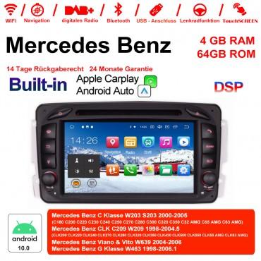 7 Zoll Android 10.0 Autoradio / Multimedia 4GB RAM 64GB ROM Für Benz C-klasse W203 W209 G-klasse W463 Eine Klasse W168 Vito Built-in CarPlay / Android Auto