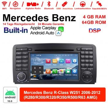 7 Zoll Android 10.0  Autoradio / Multimedia 4GB RAM 64GB ROM Für Benz R-Class W251 2006-2012 Built-in Carplay / Android Auto