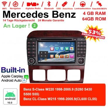 7 Zoll Android 10.0 Autoradio / Multimedia 4GB RAM 64GB ROM Für Benz W220 W215 Built-in Carplay / Android Auto