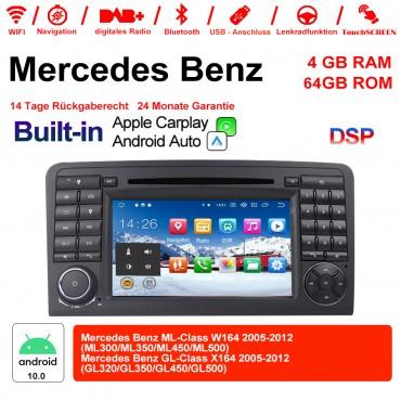 7 Zoll Android 10.0  Autoradio / Multimedia 4GB RAM 64GB ROM Für  Benz W164  X164 Built-in Carplay / Android Auto
