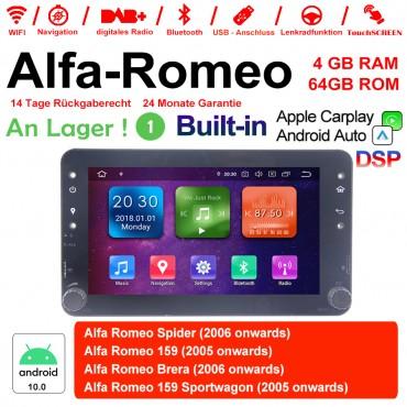 7 Zoll Android 10.0 Autoradio/Multimedia 4GB RAM 64GB ROM Für Alfa Romeo Spider 159 Brera 159 Sportwagon Built-in Carplay Android Auto