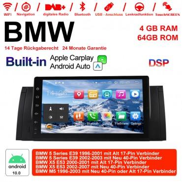 9 Zoll Android 10.0  Autoradio / Multimedia 4GB RAM 64GB ROM Für BMW X5 E53 M5 E39 Built-in CarPlay / Android Auto