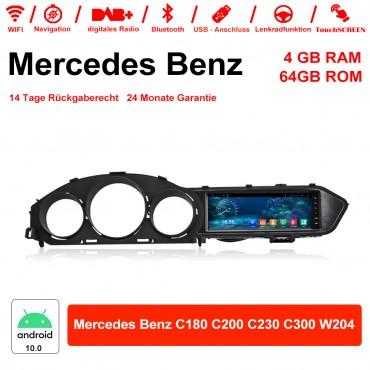 8,8 Zoll Android 10.0 Autoradio / Multimedia 4GB RAM 64GB ROM für Mercedes Benz C180 C200 C230 C300 W204