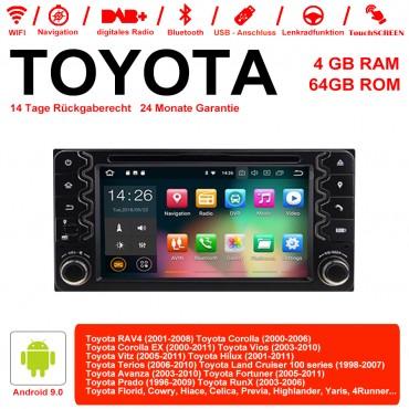 6.2 Zoll Android 9.0 Autoradio / Multimedia 4GB RAM 64GB ROM Für Toyota Corolla EX RAV4  Vios Vitz Terios  Prado