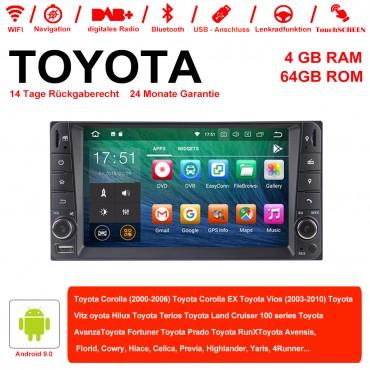 7 Zoll Android 9.0 Autoradio / Multimedia 4GB RAM 64GB ROM Für Toyota Corolla Vios Terios  Land Cruiser Avanza RunX