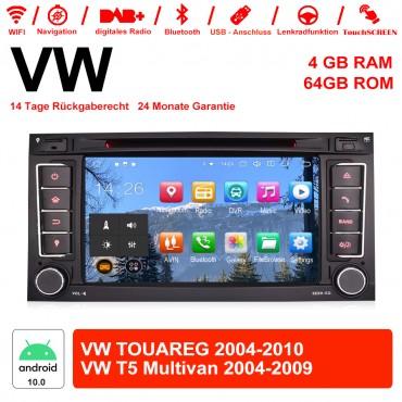 7 Zoll Android 10.0 Autoradio/Multimedia 4GB RAM 64GB ROM Für VW TOUAREG 2004-2011,VW T5 Multivan 2004-2009 mit WiFi Navi USB...
