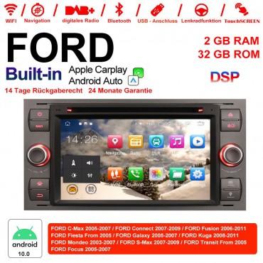 7 Zoll Android 10.0 Autoradio / Multimedia 2GB RAM 32GB ROM Für Ford Focus Fiesta Focus Fusion C/S-Max Transit Mondeo Built-in Carplay / Android Auto