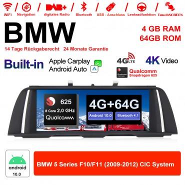 10.25 Zoll Qualcomm 625 (MSM8953) 8Core A53 2.0 GHZ Android 10.0 4G LTE Autoradio/Multimedia USB WiFi NAVI Carplay Für BMW 5 Serie F10 F11 CIC