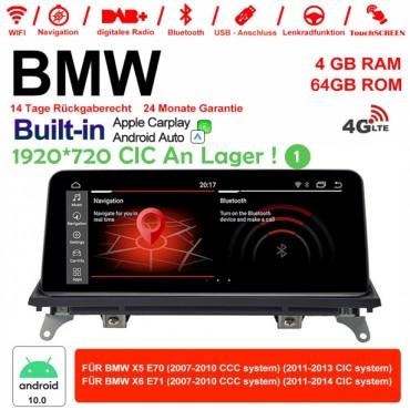 10.25 Zoll Qualcomm Snapdragon 625 8 Core 2.0 GHZ Android 10.0 4G LTE Autoradio/Multimedia 4GB RAM 64GB ROM Für X5 E70 BMW X6 E71 Built-in Carplay / Android Auto